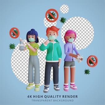 Zelfbescherming tegen het wassen van de handen van het coronavirus met een masker 3d-illustratieweergave