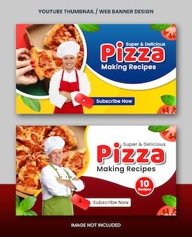 Zelfgemaakt recept voor het maken van voedsel youtube-thumbnail of webbannerontwerp