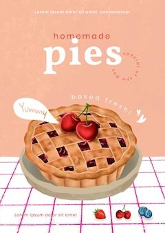 Zelfgemaakte taarten poster sjabloon illustratie