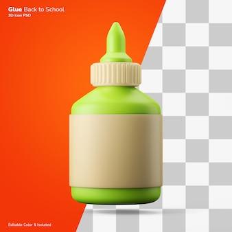 Zelfklevende vloeibare lijm fles 3d-rendering pictogram bewerkbare kleur geïsoleerd