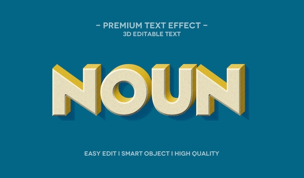 Zelfstandig naamwoord 3d-tekststijleffect-sjabloon