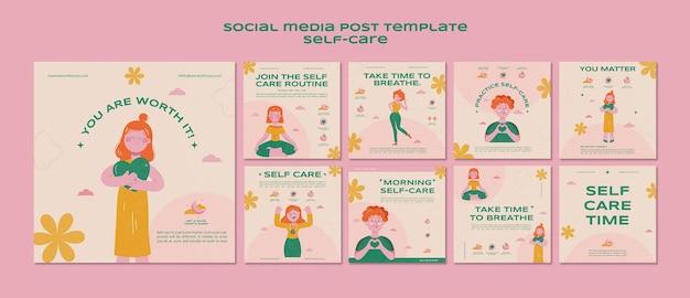 Zelfzorg social media postsjabloon