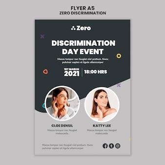 Zero discriminatie dag afdruksjabloon