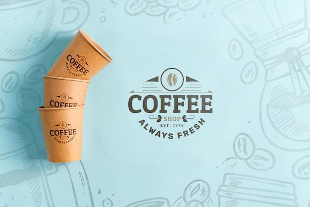 Zero waste milieuvriendelijke papieren wegwerp mockup cups