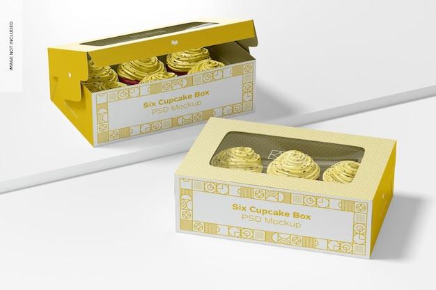 Zes cupcake boxes mockup, perspectief
