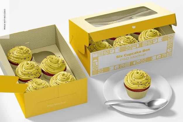 Zes cupcake boxes mockup