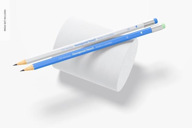 Zeshoekige potloden mockup, bovenaanzicht