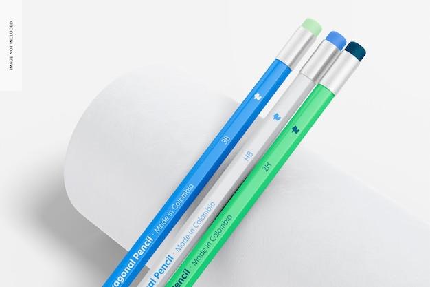 Zeshoekige potloden mockup, close-up