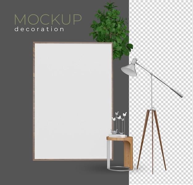 Zet fauteuil in het renderen van interieur mockup-ontwerp