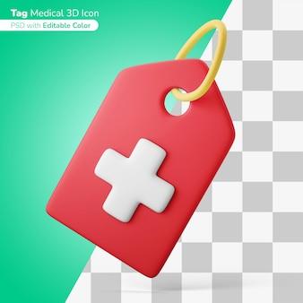 Ziekenhuis patiënt identificatie tag 3d illustratie 3d pictogram bewerkbare kleur geïsoleerd