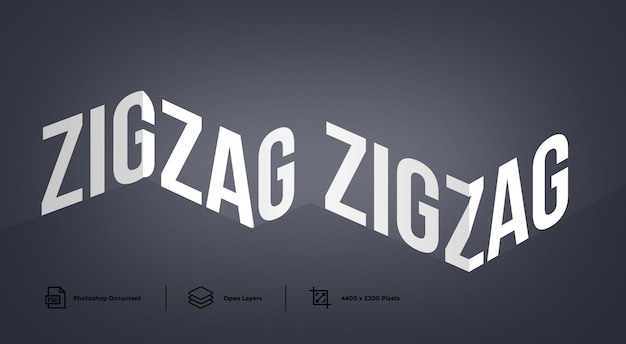 Zig zag-teksteffect ontwerpsjabloon