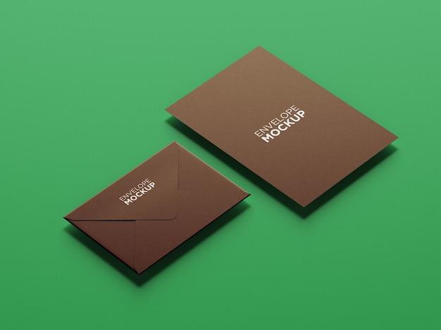 Zijaanzicht minimalistisch briefpapier mockup geïsoleerd