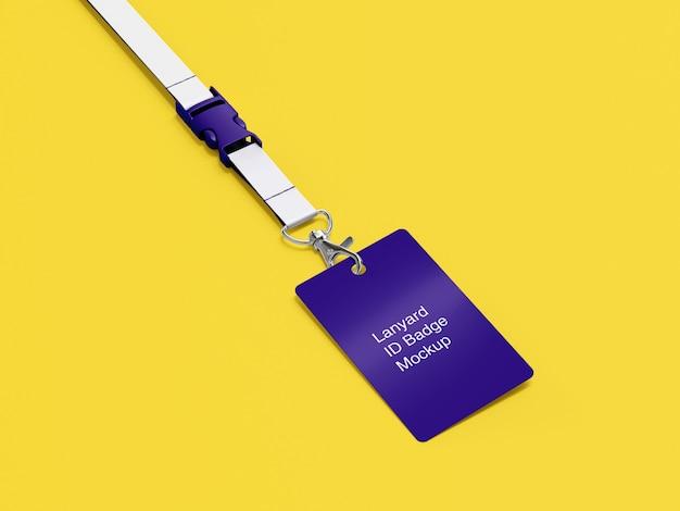 Zijaanzicht pf mockup van lanyard id-badge
