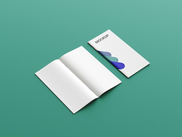 Zijaanzicht tweevoudige brochure mockup