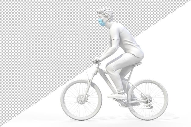 Zijaanzicht van een man die medisch beschermend gezichtsmasker op een fietsweergave draagt