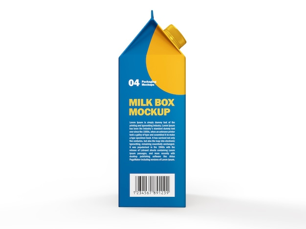 Zijaanzicht van melk of sap tetra pack box mockup