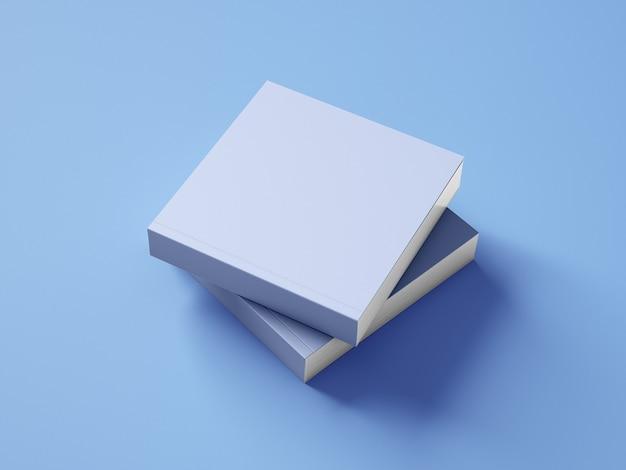 Zijaanzicht vierkante boekomslag op blauwe achtergrondmodel