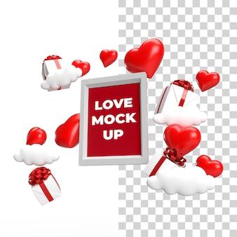 Zijonderaanzicht zwevend frame mockup valentijn concept