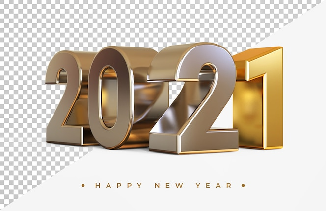 Zilver en goud 2021 nieuwjaar 3d-rendering geïsoleerd