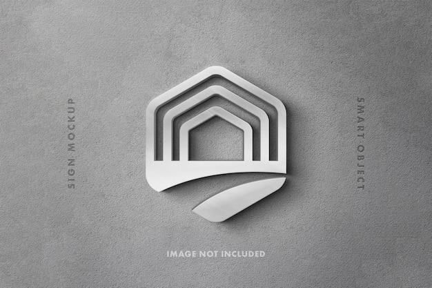 Zilver metallic teken logo mockup