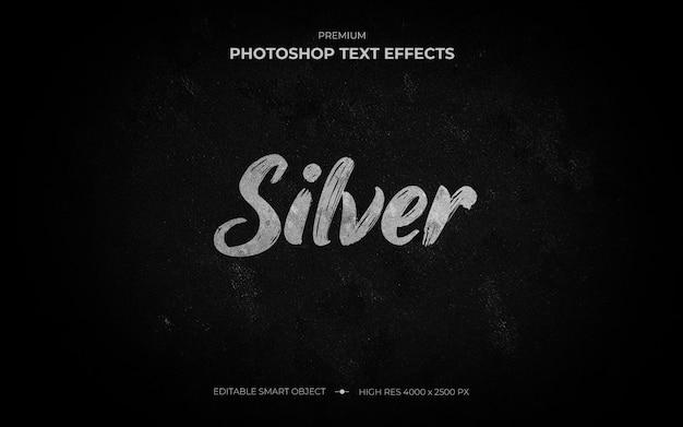 Zilveren borstel teksteffect mockup