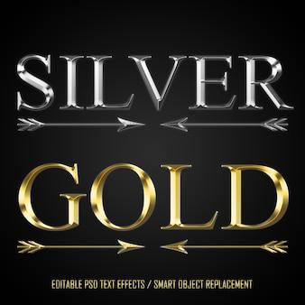Zilveren en gouden bewerkbare tekst