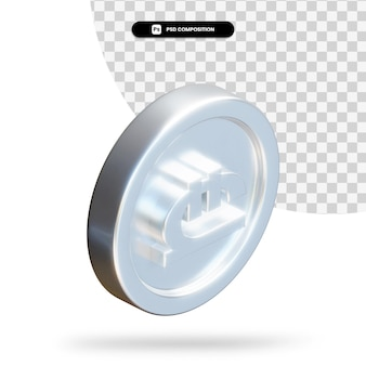 Zilveren georgische lari munt 3d-rendering geïsoleerd