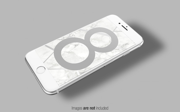 Zilveren iphone 8 psd mockup perspectiefmodel