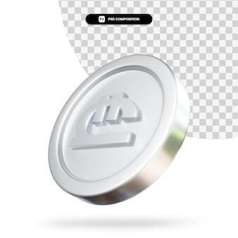Zilveren lari munt 3d-rendering geïsoleerd