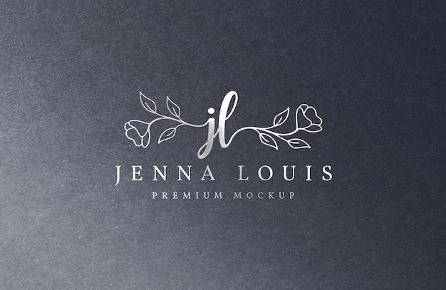 Zilveren luxe logo mockup