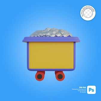 Zilveren mijnkar cartoon stijl 3d-object