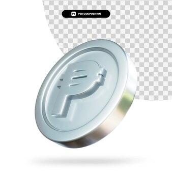 Zilveren peso munt 3d-rendering geïsoleerd