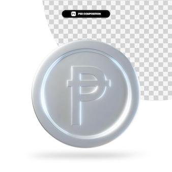 Zilveren spaanse peseta munt 3d-rendering geïsoleerd