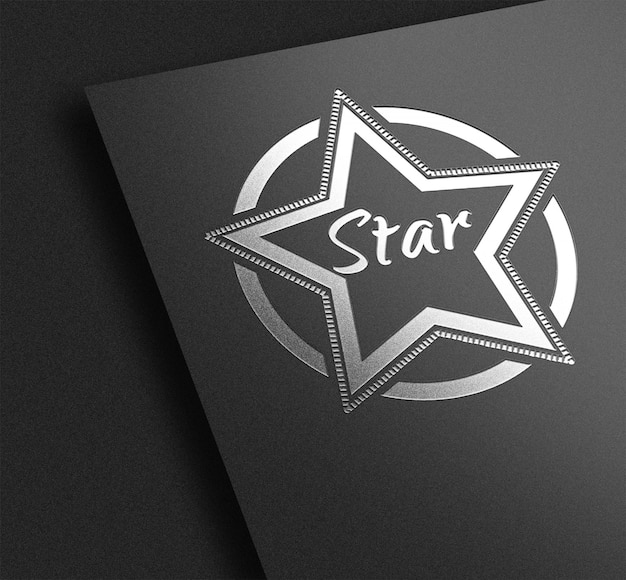 Zilveren stampel logo mockup