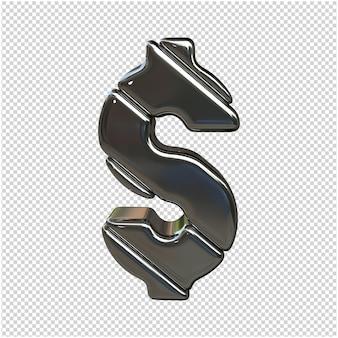 Zilveren symbool 3d-rendering geïsoleerd