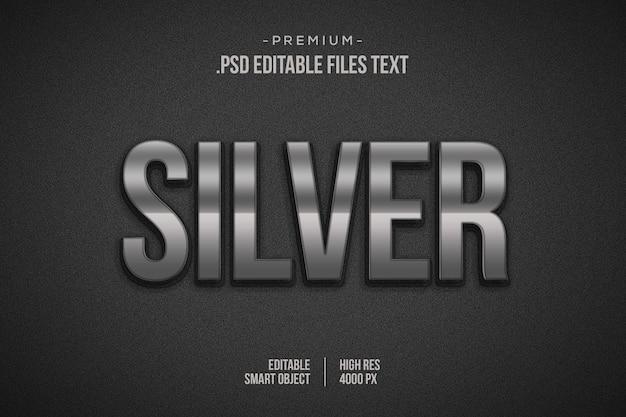 Zilveren teksteffect, 3d-zilverlaagstijl, 3d-zilveren lettertype-effectmodel, glanzend zilver 3d-stijl-teksteffect