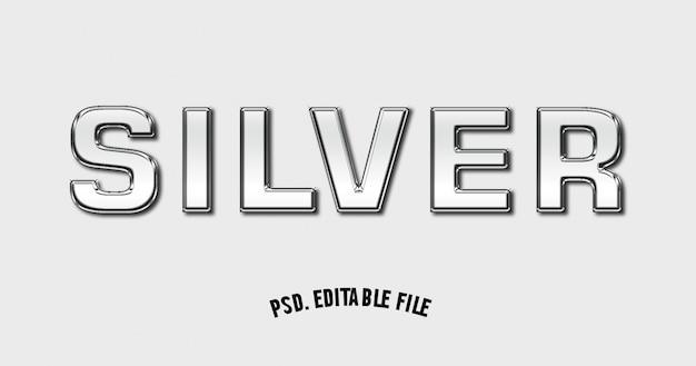 Zilveren teksteffect lettertype mockup 3d