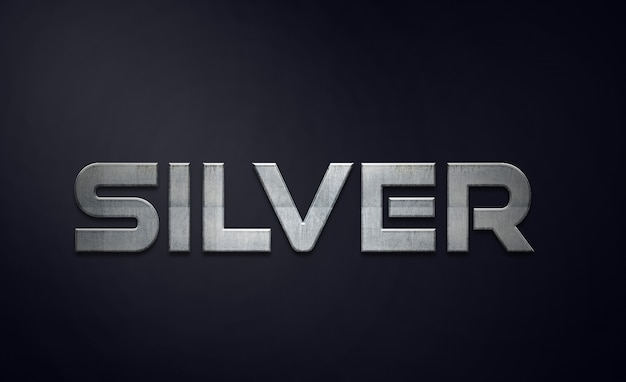 Zilveren teksteffecten stijl bewerkbare psd