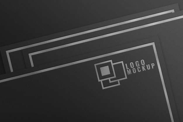 Zilverfolie logo mockup op zwart papier