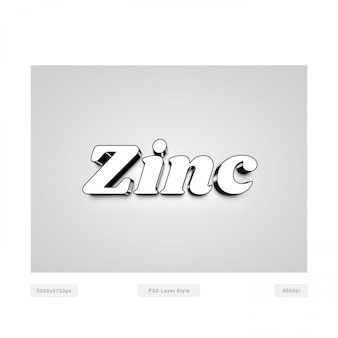 Zinkchroom 3d-stijl effect Premium Psd