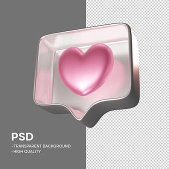 Zoals instagram-roze in metallic zilveren geïsoleerde weergave
