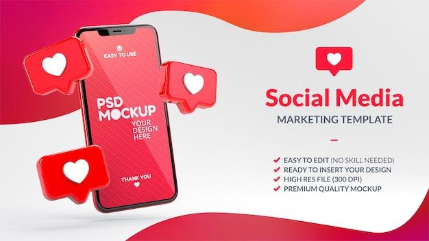 Zoals meldingen en telefoonmodel voor social media-marketingsjabloon in 3d-weergave