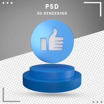 Zoals pictogram 3d gedraaide logo facebook 3d-rendering