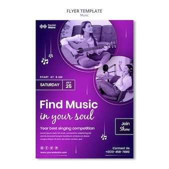 Zoek muziek folder sjabloon