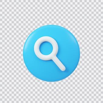 Zoek teken 3d render interface-knop geïsoleerd op wit