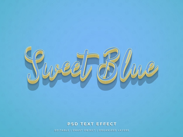 Zoet blauw 3d teksteffect