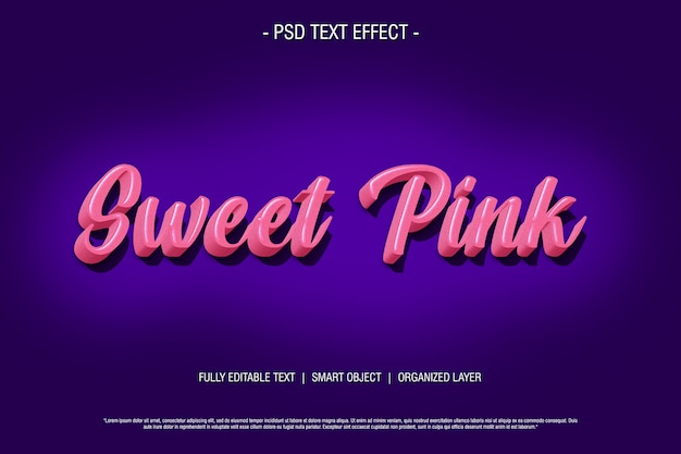 Zoet roze 3d teksteffect