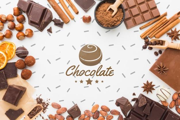 Zoete chocoladekader met wit model als achtergrond