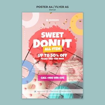 Zoete donut aanbieding poster sjabloon