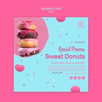 Zoete stapel donuts vierkante flyer